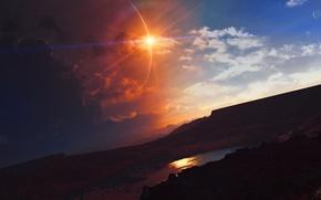 Picture clouds, lake, landscape, planet, art, TylerCreatesWorlds