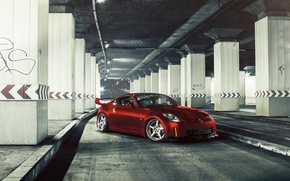 Picture car, auto, red, Nissan, tuning, nissan 350z