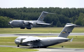 Wallpaper air-base, C-17, landing, the rise