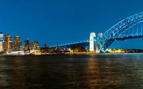 Picture bridge, Australia, panorama, Bay, Sydney, night city, Australia, Sydney, Sydney Harbour Bridge, Harbour Bridge, Harbour …