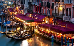 Wallpaper lights, Italy, Venice, twilight, gondola, lamps, restaurants, The Grand canal, San Polo