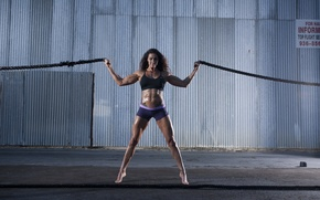 Picture pose, female, ropes, bodybuilder