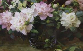 Picture flowers, pink, still life, peonies, Hagop Keledjian