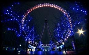 Picture lights, Ferris wheel, night