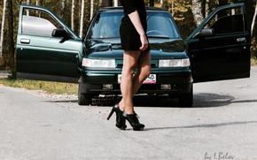 Wallpaper machine, girl, legs, Lada, VAZ, 2110