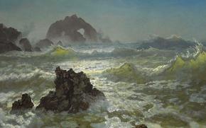 Wallpaper storm, rocks, picture, seascape, Albert Bierstadt, Seal Rocks. CA