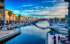 Picture bridge, dawn, boat, France, home, morning, yacht, channel, Provence-Alpes-Cote d'azur, Frejus