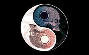 Picture pattern, symbol, skull, Yin Yang