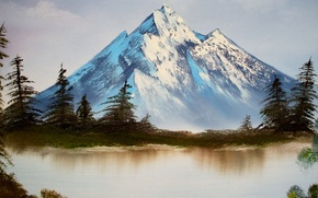 Picture the sky, water, trees, landscape, lake, mountain, picture, ate, painting, Bob Ross, Bob Ross