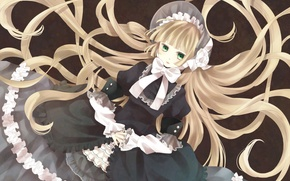 Picture bow, long hair, green eyes, ruffles, gosick, Kapor, victorica de blois