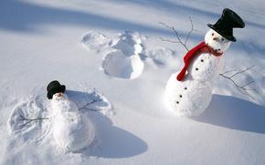 Picture winter, snow, scarf, snowmen, caps