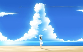 Picture beach, summer, the sky, clouds
