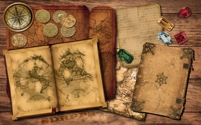 Picture gold, old, map, book, compass, ruby, coins, emerald