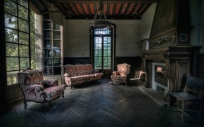 Picture sofa, flooring, chairs, fireplace, hall