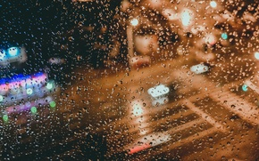 Picture rain, window, bokeh, raindrops, glass drops
