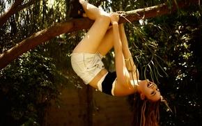 Wallpaper joy, shorts, laughter, branch, Liana Liberato