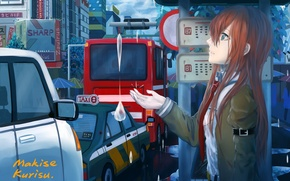 Picture look, girl, drops, the city, bus, cars, anime, art, stop, makise kurisu, steins;gate