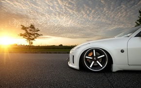 Picture white, the sun, sunset, Nissan, white, Blik, Nissan, 350Z
