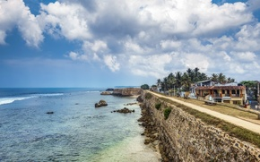 Picture sea, the sky, clouds, stones, palm trees, coast, home, horizon, Sri Lanka, Galle fort