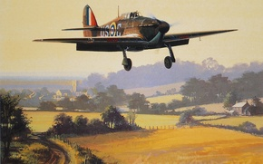 Picture the plane, Fighter, painting, Hawker Hurricane, Hurricane, WW2, aircraft art