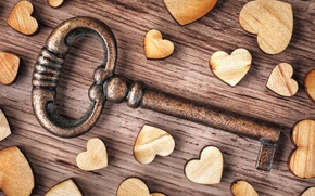 Picture love, heart, wood, key, romantic