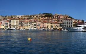 Picture river, home, yachts, Italy, boats, Sunny, promenade, piers, Tuscany, Portoferraio