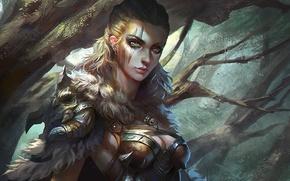 Picture girl, fantasy, armor, green eyes, Warrior, art, tattoo, blonde, artwork, fur