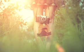 Picture grass, girl, the sun, feet, dress, the camera, Blik, camera