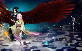 Picture girl, wings, mask, flashlight, characters, horns, guy, kimono, Naruto, Sasuke Uchiha, Haruno Sakura