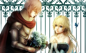 Picture girl, butterfly, bouquet, pair, Guy, lovers, knight