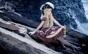 Picture bottle, Girl, dress, art, costume, mountain girl