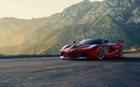 Picture Ferrari, Red, Race, Front, Sun, Sunset, Road, Supercar, FXX K, Moutian
