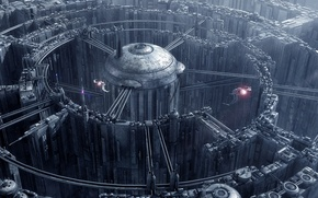 Picture city, labyrinth, spaceships, towers
