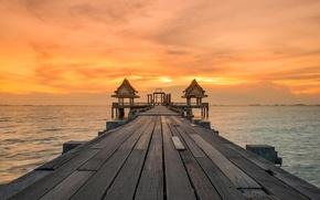 Picture sea, the sky, clouds, sunset, Board, pier, pierce