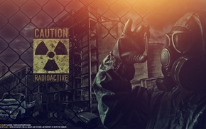 Picture machine, night, fear, clothing, the fence, radiation, gas mask, dangerous, Radioactive, radioactivity
