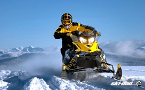 Picture snow, yellow, sport, sport, snow, snowmobile, 800, snowmobile, ski-doo, mxz, brp, skidoo