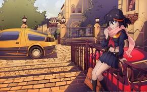 Picture car, girl, anime, art, kill la kill, kazuki nakashima