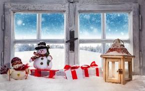 Picture Christmas, winter, snow, snowman, decoration