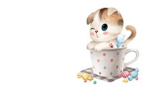 Picture art, mug, kitty, candy