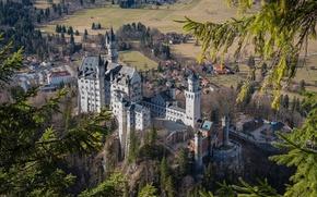 Picture castle, Germany, Bayern, Neuschwanstein, panorama, Neuschwanstein, castle