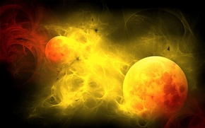 Picture the sun, light, flame, Wallpaper, planet, ball, satellite, twilight
