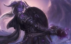 Wallpaper warrior, armor, WoW, World of Warcraft, girl, hammer, horns, cave, paladin