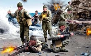 Picture sea, weapons, shore, figure, explosions, art, shooting, coloring, equipment, landing, WW2, British Commandos, British commandos