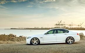 Picture white, BMW, BMW, white, wheels, side, F10, 550i, 5 series