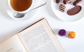 Picture mood, tea, candy, book, Chekhov