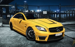 Picture Mercedes-Benz, Cars, AMG, Yellow, CLS63, Ligth, Nigth