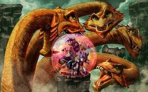 Picture rock, figure, monster, battle, fantasy, art, unicorn, rock, fantasy, the battle, shield, monster, art, Hydra, …