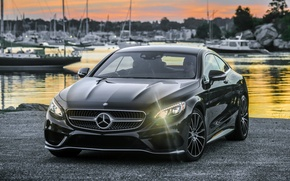 Picture shore, black, Mercedes-Benz, yachts, the evening, Mercedes, AMG, Black, AMG, 2014, S 550, S-Class, C217