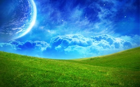Wallpaper planet, green, blue, field, clouds