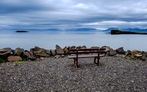 Picture stones, shore, horizon, Iceland, bench